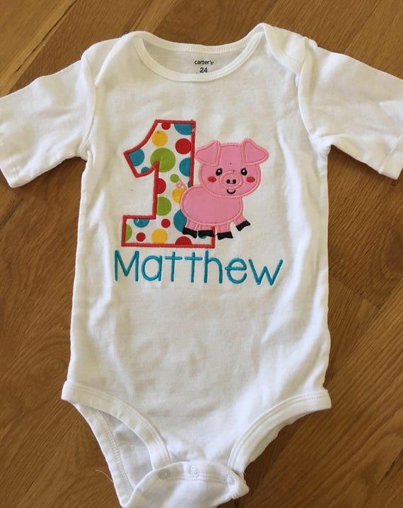 Farm theme, charlottes web birthday shirt, pig farm animal theme 1 2 3 4 5 birthday shirt, red yellow blue pig onesie shirt cow horse birthd