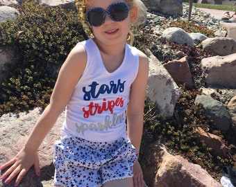 stars stripes and sparklers graphic girls shirt patriotic 4th of july flag  shirt, red white and blue baby outfit, baby girl july outfit