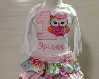 girls owl woodland birthday shirt look whooose turning one birthday girl birthday any number embroidered shirt, baby girl owl, woodland fox