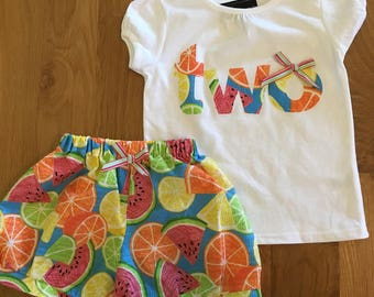 Girls 2nd birthday fruit shirt shorts skirt Tutti Fruitti birthday, twotti fruitti theme picnic birthday two girls birthday shirt watermelon