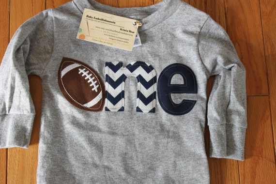 football 1st birthday shirt navy blue gray any color, touch down end zone party theme shirt, boys first birthday shirt Sports birthday theme