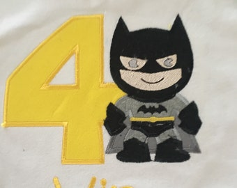 Batman birthday shirt 1 2 3 4 birthday any number superhero batman birthday, boys birthday shirt, superhero theme party embroidered monogra