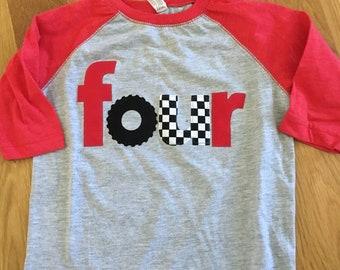 Racecar birthday shirt, four 4th birthday monster truck wheel birthday, boys birthday shirt, wheel race car, checkered race flag, boys birt