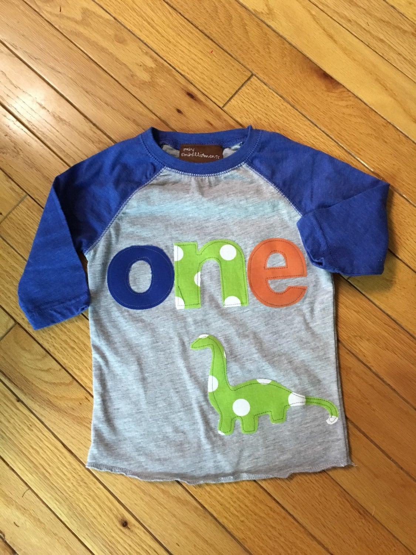 ONE Dinosaur Birthday Shirt Boys Dino 1st 2nd Lime Green Blue Orange Raglan