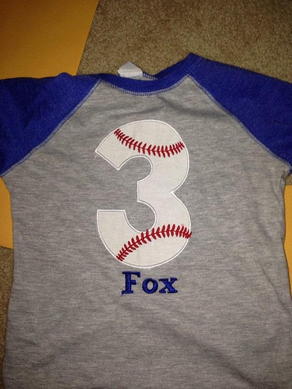 3 baseball birthday raglan shirt, boys baseball birthday shirt, baseball monogram, custom baseball shirt, blue raglan, embroidered baseball