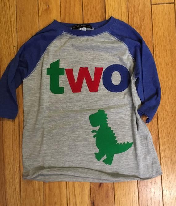 T Rex dinosaur birthday shirt 2nd birthday, two boys dino birthday shirt reglan shirt  primary colors, birthday dinosaur shirt red blue gree