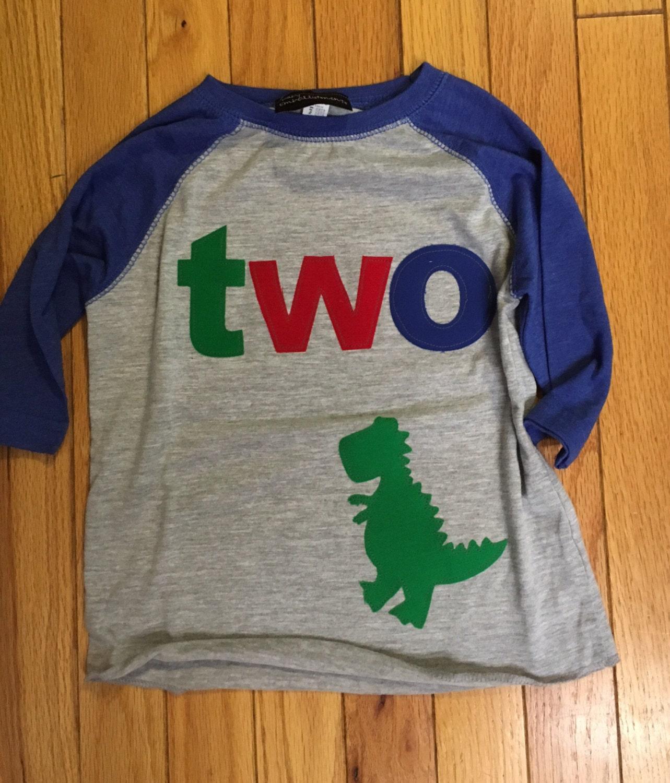 T Rex Dinosaur Birthday Shirt 2nd Two Boys Dino Reglan Primary Colors Red Blue Gree