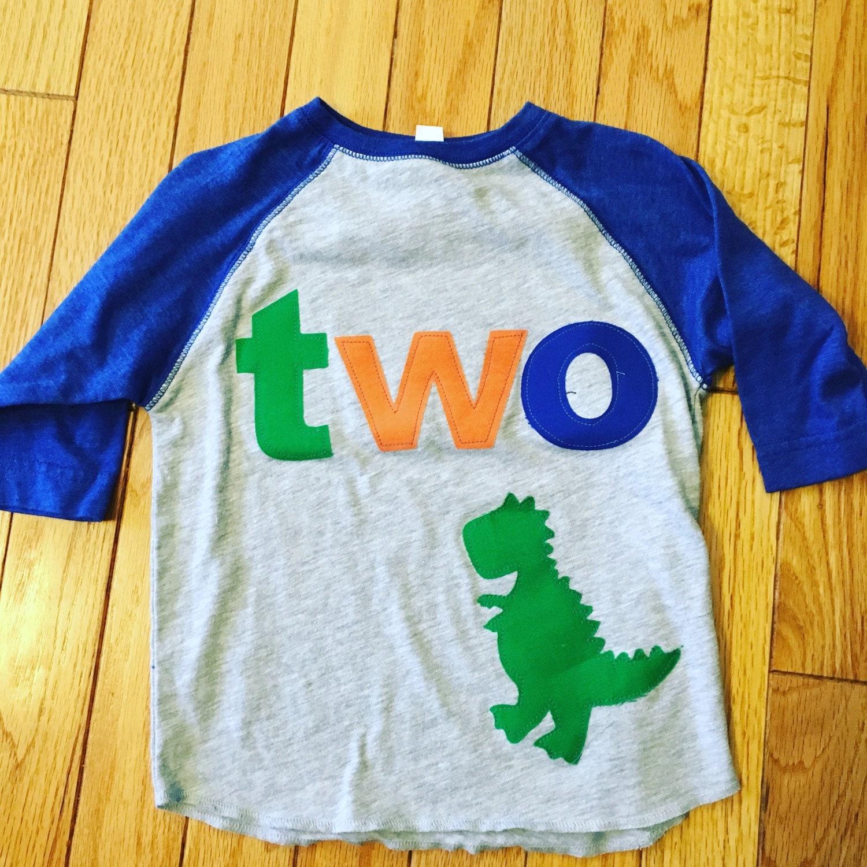 TWO T Rex Birthday Raglan Shirt Boys Dino 2nd Dinosaur Style Orange Green Royal Blue