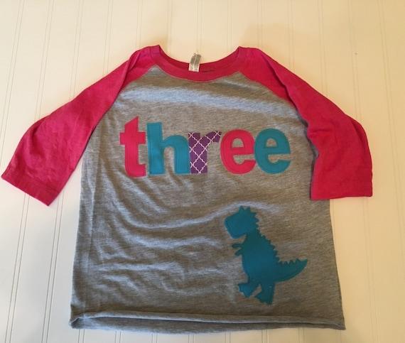Girls dinosaur birthday raglan, three dinosaur shirt, 3 girls t tex raglan shirt, pink purple teal girls dinosaur shirt, dinomite girl