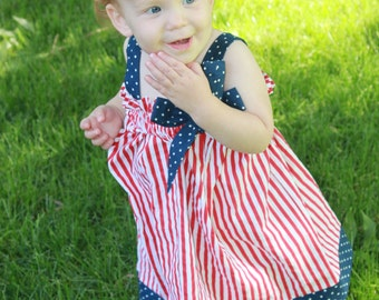 Red white and blue girls dress, patriotic americana dress, 4th of july dress, girls summer red white blue dress