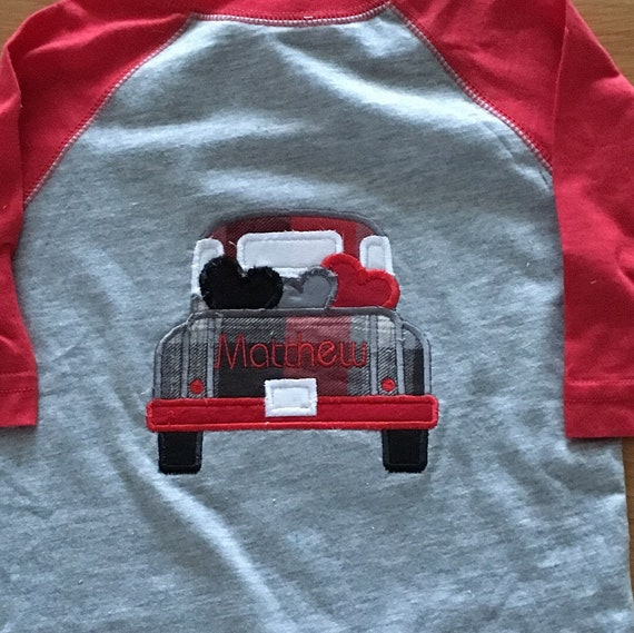Truck with hearts Valentines Day shirt Be Mine Truck wth hearts embroidered boys heart day raglan, red gray black name monogram embroidered