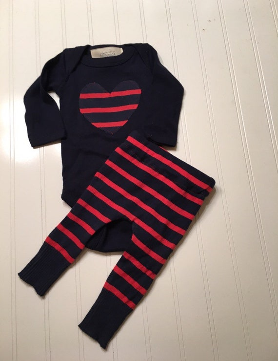 baby heart pants and bodysuit Valentine's Day 2 piece set Newborn RTS, red navy blue stripe heart girls boys Valentine's Day outfit, newborn