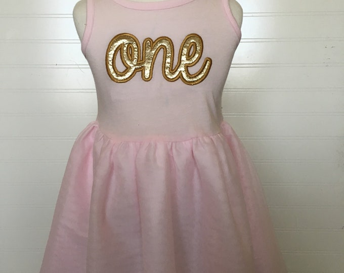 Featured listing image: One two three gold Birthday girls tutu dress, pink and gold one birthday, gold pink birthday, sparkly gold girls birthday shirt, embroidery