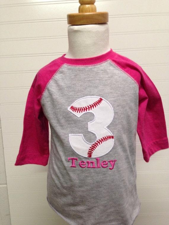 Girls Baseball birthday shirt, Pink raglan baseball 1st birthday,girls baseball 1, baseball 2nd birthday shirt, birthday girl, girls raglan