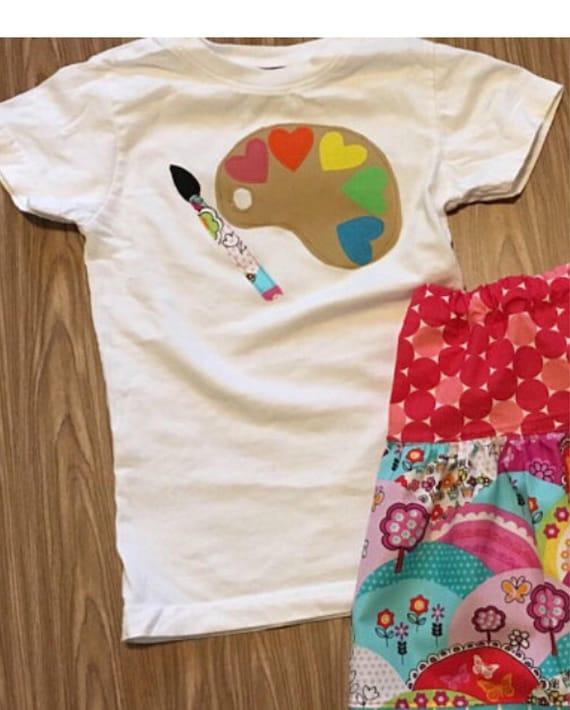 Little artist shirt, Paint pallet shirt, art theme birthday, girls birthday hearts and art, girls birthday party clothes, inspire, create