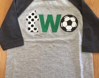 2nd birthday soccer shirt, boys two birthday shirt, 2nd birthday sports shirt, baby raglan shirt, soccer ball, score a goal party 2 yr old