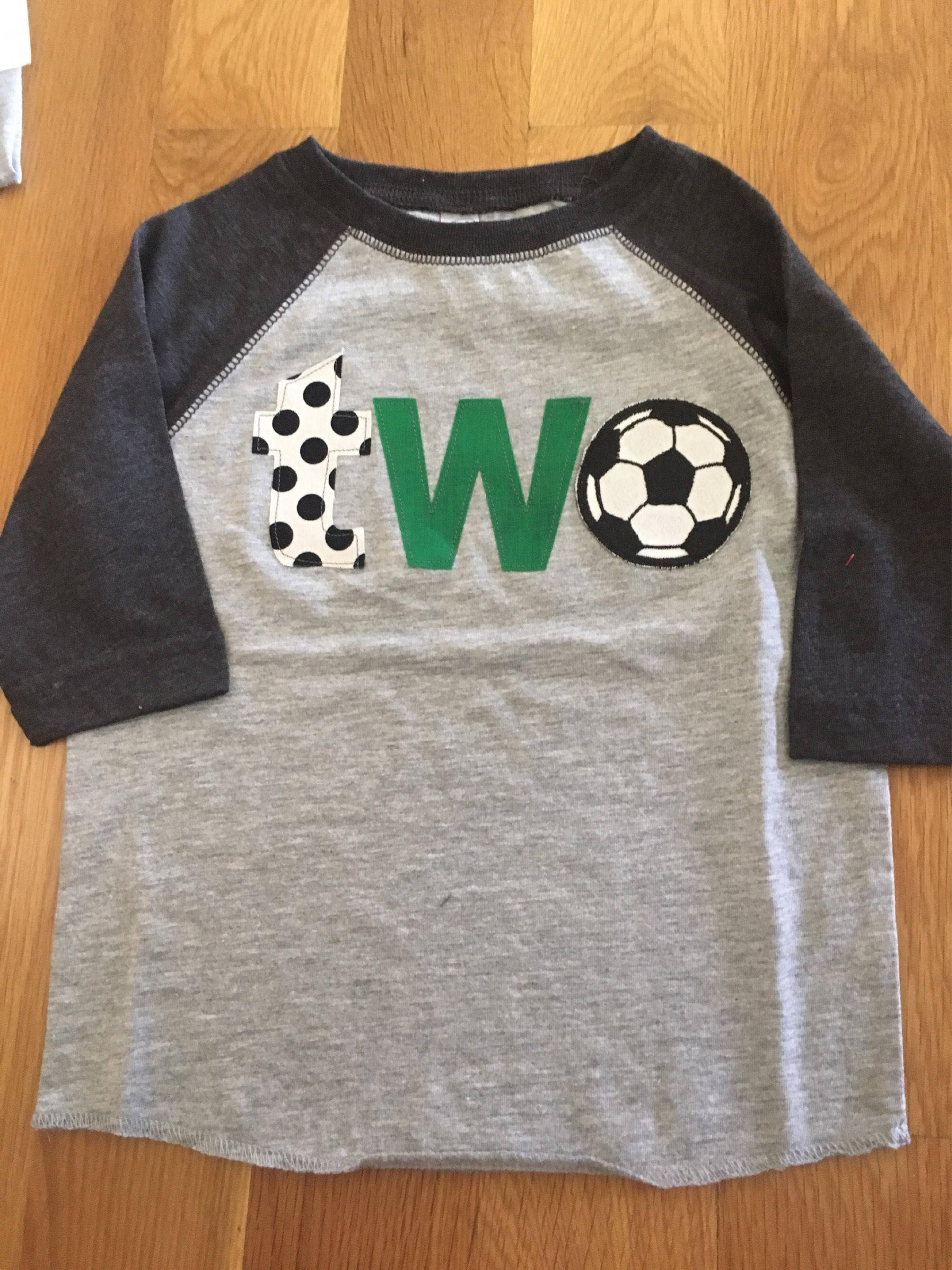 9d76ba7b 2nd birthday soccer shirt, boys two birthday shirt, 2nd birthday sports  shirt, baby raglan shirt, soccer ball, score a goal party 2 yr old