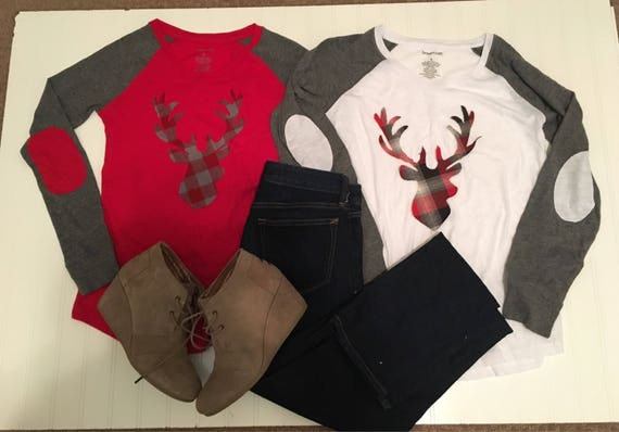 Buffalo plaid deer silhouette womens shirt, ladies winter raglan shirt, elbow patches, buffalo check red black buck head, red gray womens sh