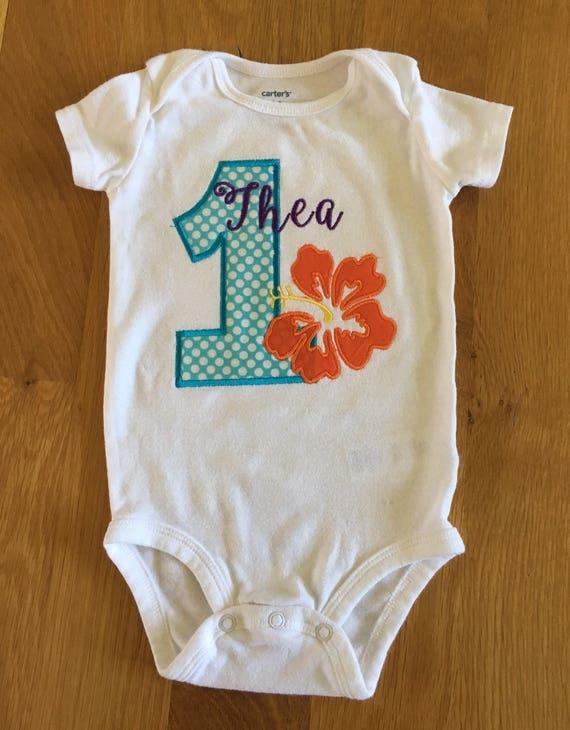 birthday Hibiscus flower shirt Moana birthday, Hawiian theme birthday, Island theme girls birthday shirt, first birthday onesie, 1,2,3 any