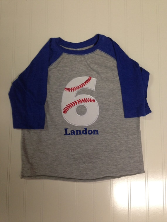 Baseball 5, 6 Birthday shirt, boys baseball birthday reglan sleeve shirt