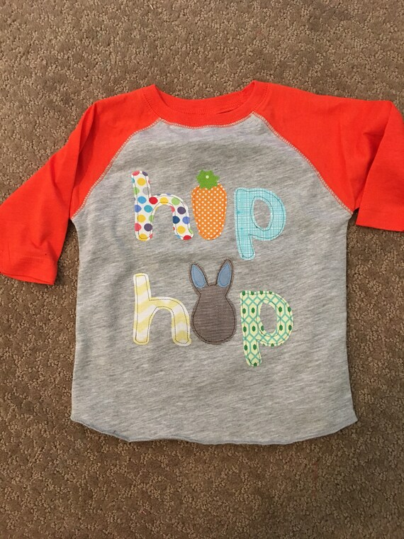 Hop Hop boys easter shirt, applique fabric easter shirt, Hop Hop shirt, multicolors fabric custom shirt easter boys clothes Easter egg hunt