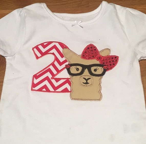 Llama birthday shirt any age 1 2 3 4 5, llama llama red pajama theme party, llama glasses, girls embroidered monogram custom shirt