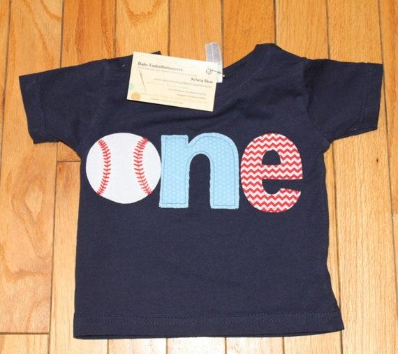 one baseball shirt, boys first birthday baseball shirt, Sports birthday theme shirt, light blue, small red chevron navy blue shirt, play bal