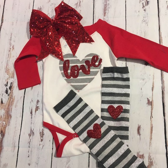 sparkly glitter heart love girls valentines day bodysuit, gray red , heart glitter red gray any color available girls valentines day raglan