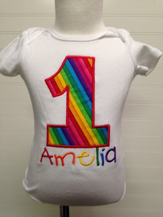 Rainbow birthday, girls 1  2 3 4 5 birthday shirt, rainbow birthday,monogram, embroidered, circus theme birthday, multicolored birthday name
