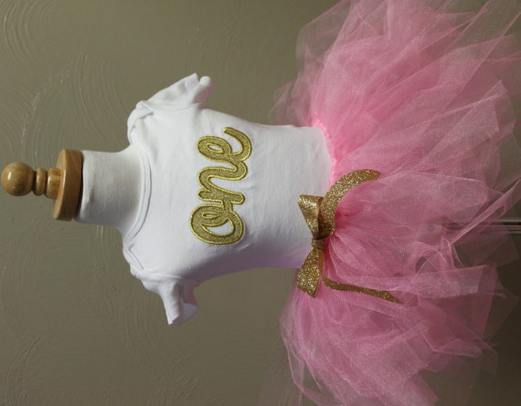 One gold Birthday girls shirt,  pink and gold one birthday, gold one birthday, sparkly gold 1, girls birthday shirt, embroidery, baby girl