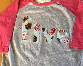 girls five donut party shirt, donut birthday party, birthday donut shirt, sprinkles pink raglan shirt, 1 2 3 4 donut birthday, party wear