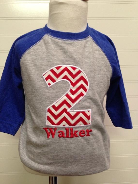 1st,2nd birthday shirt embroidered raglan, boys birthday shirt, reglan sleeved birthday shirt, any number available, custom birthday shirt