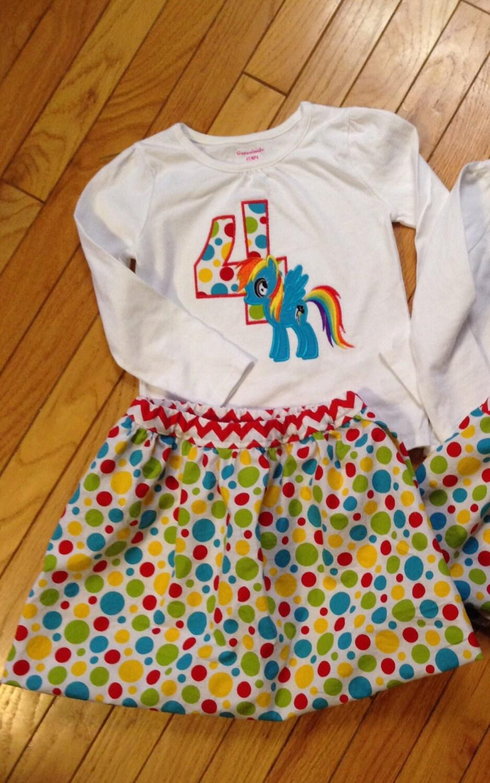 Girls Rainbow Pony Birthday Shirt First Second Third Fourth Dash Little