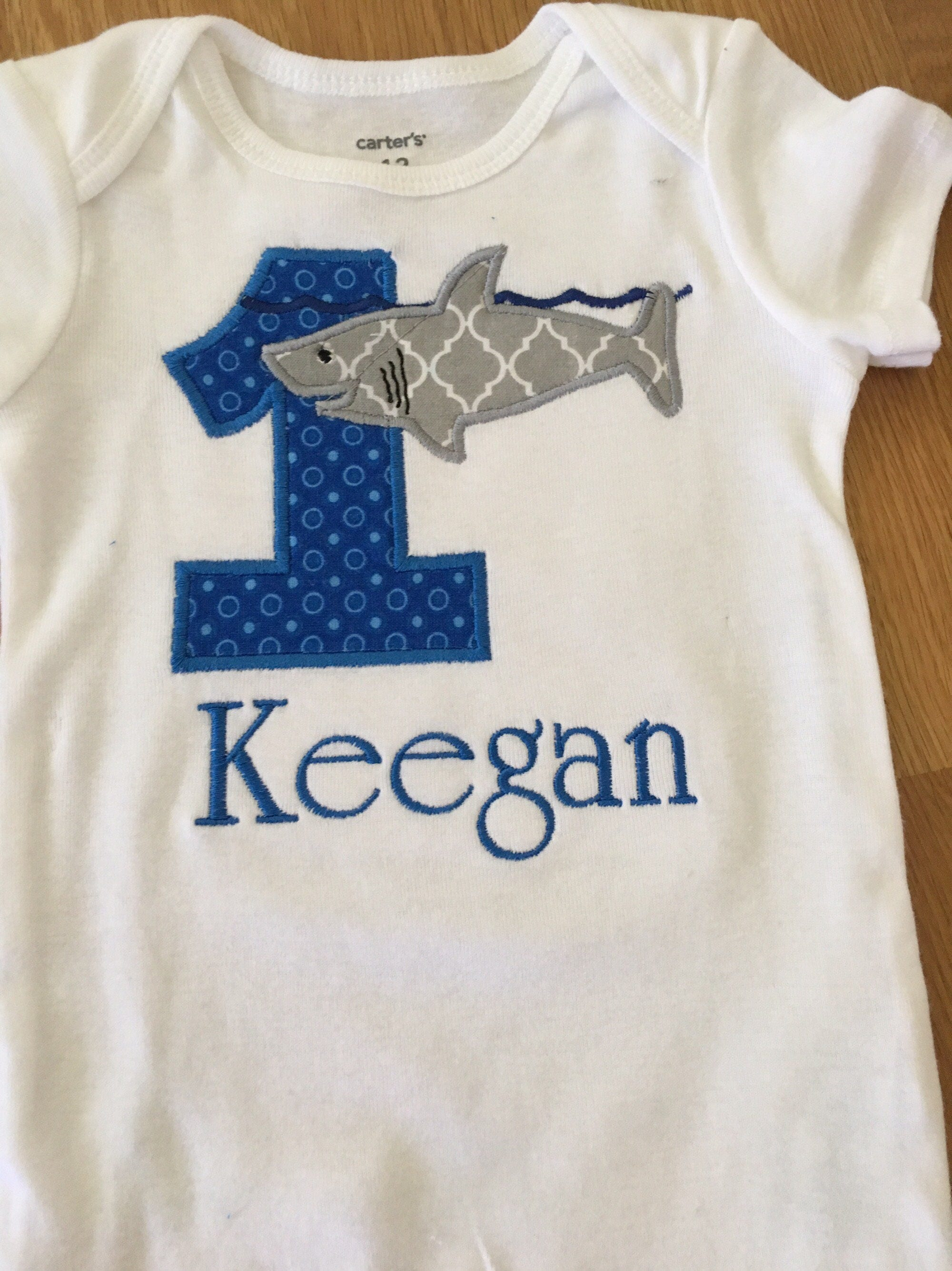 Shark Birthday Shirt Jawsome 1st Week Bite Great White 1 2 3 4 5 Any Number Monogram