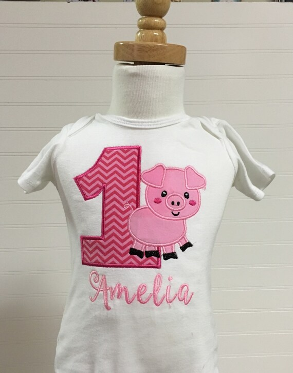 Pig barnyard farmyard, charolettes web birthday theme shirt, embroidered pig any number shirt, animal birthday theme, pig cow sheep horse
