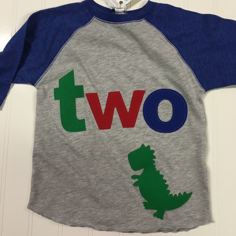 2 T Rex Dinosaur Birthday Shirt Boys 2nd Raglan Style Green Red Blue Applique