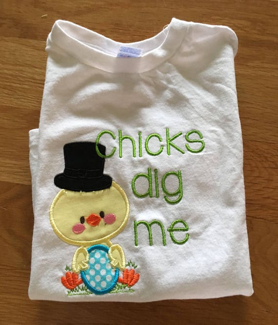 Chicks dig me boys easter shirt, embroidered easter shirt, Chicks dig me shirt, monogram custom shirt easter boys clothes Easter egg hunt