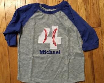 Baseball 4th Birthday shirt, boys baseball birthday reglan sleeve shirt, four basebal shirt