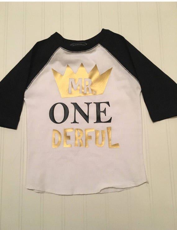 Mr onederful raglan shirt, boy 1st birthday shirt, gold black boys one shirt, graphic toddler tshirt, where the wild things are, mr one der