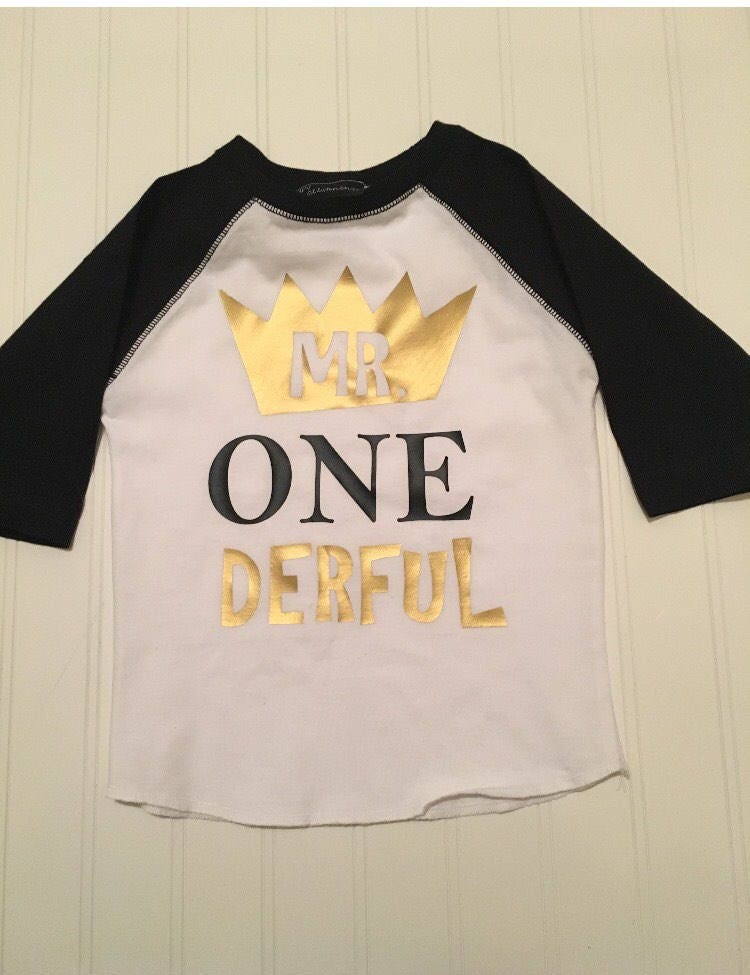 Mr Onederful Raglan Shirt Boy 1st Birthday Gold Black Boys One Graphic Toddler Tshirt Where The Wild Things Are Der