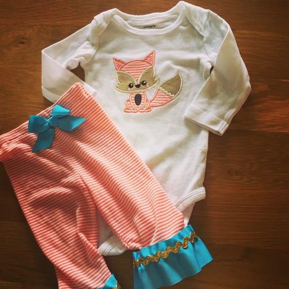 Woodland fox shirt ruffle pants fox shirt, orange teal gold ruffle pants embroidered fox, boho chic toddler girl style