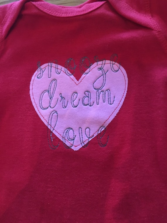 Kids Valentines Day pajamas Snooze Dream Love stitched design, red and pink heart pajamas, girls velentines day pajamas, customization avai