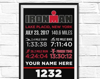 Custom Ironman Race Gift - Canvas or Poster