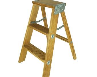 Vintage Small Wood Step Ladder, Wooden Folding Ladder, Painter's Step Stool, Farmhouse Decor, Plant Stand, Rustic Display Shelf Display