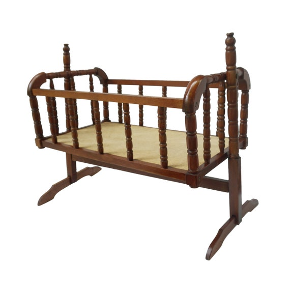 Admirable Vintage Wood Jenny Lind Doll Baby Crib Wooden Spindle Swinging Rocking Cradle Bed Pretend Play Baby Retro Nursery Playroom Doll Furniture Ocoug Best Dining Table And Chair Ideas Images Ocougorg