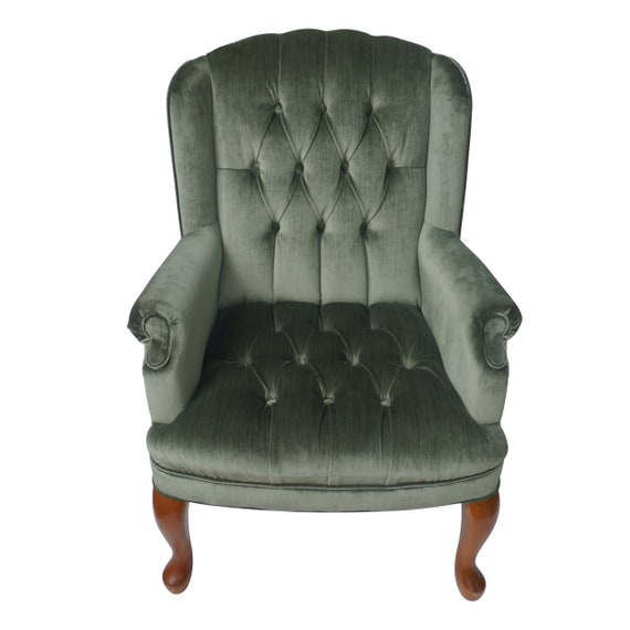 Pleasing Vintage Tufted Velvet Wingback Sage Green Chair Wing Back Chair Lounge Side Chair Arm Chair Armchair Seating Living Room Accent Chair Pdpeps Interior Chair Design Pdpepsorg