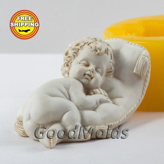 Bebé sobre la almohada 3 jabón 3D molde de silicona moldes molde para jabón  molde angel molde silicona molde niño molde baby molde envío gratis