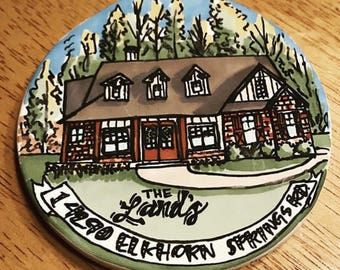 "Hand Drawn 3.5"" Ceramic House Ornament"