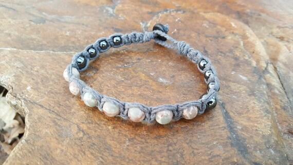 Mens Hemp Bracelet Jasper Hematite Gift For Him Hemp Etsy