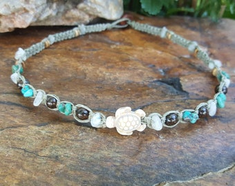 Hemp Choker, Turtle Necklace, Hemp Necklace, Genuine Moonstone, Bronzite, Turquoise Necklace, Turtle Jewelry, Surfer Girl, Beach Jewelry
